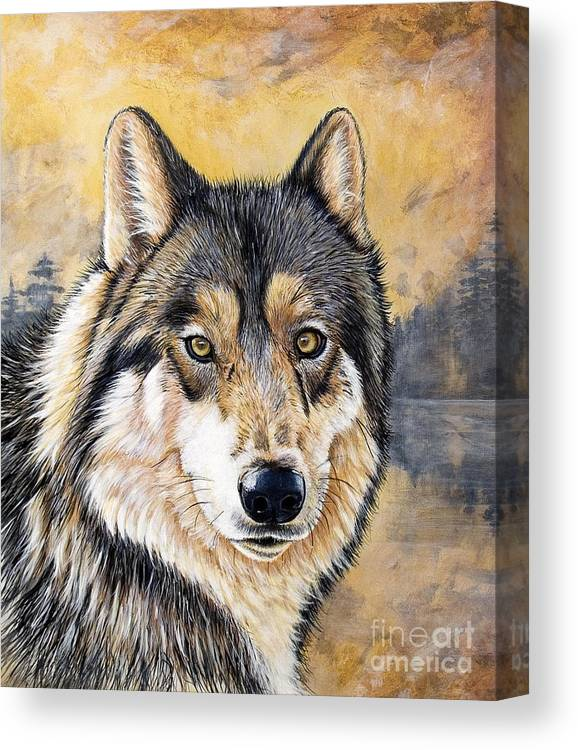 Acrylics Canvas Print featuring the painting Loki by Sandi Baker