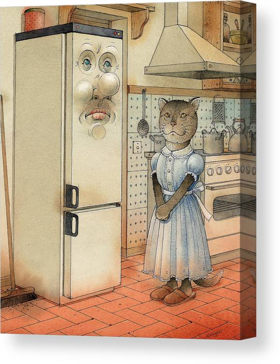 Cat Kitchen Love Canvas Print featuring the painting Love Story by Kestutis Kasparavicius