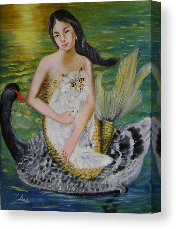 Surrealist Canvas Print featuring the painting Mermaid And Swan by Lian Zhen