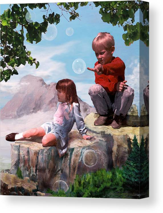 Landscape Canvas Print featuring the painting Mount Innocence by Steve Karol
