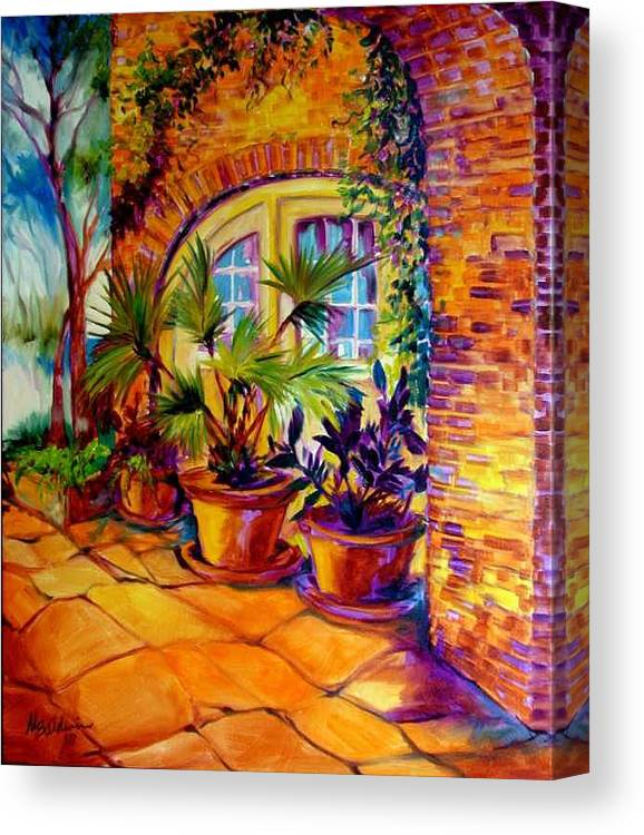 New Orleans Canvas Print featuring the painting New Orleans Courtyard By M Baldwin by Marcia Baldwin
