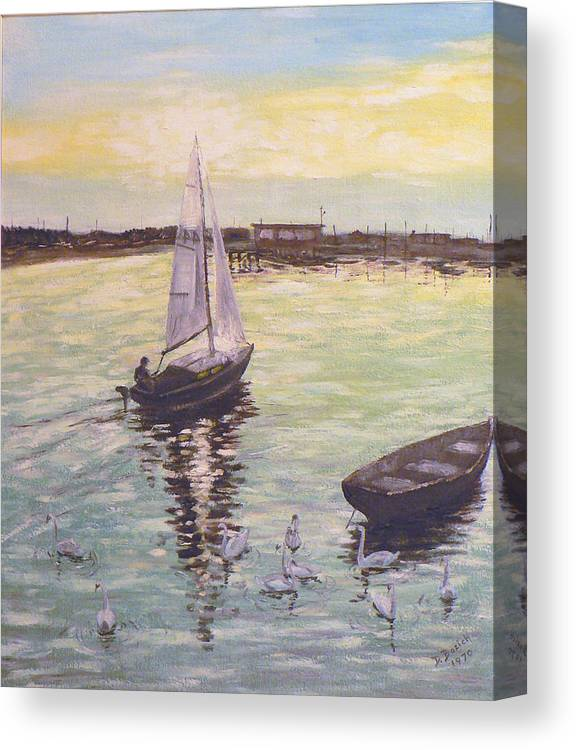 Sailboat Canvas Print featuring the painting Saling Home At Sunset by Dan Bozich
