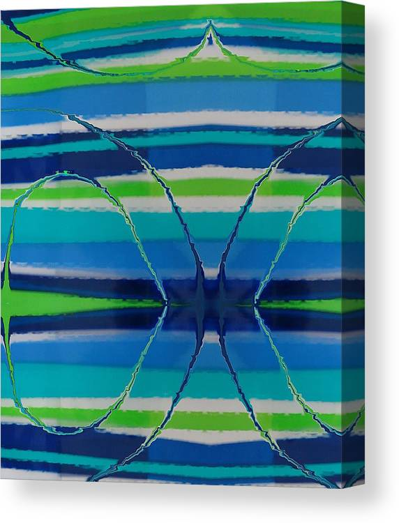 Abstract Canvas Print featuring the painting See Thru Blue by Florene Welebny