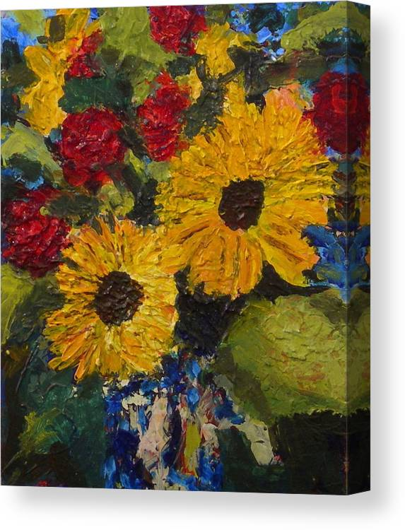 Vase Canvas Print featuring the painting Sun Flowers by Jan Rapp