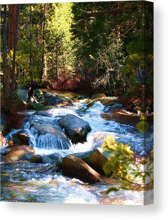 Landscapes Canvas Print featuring the photograph Twin Bridges Cascades by Russell Barton