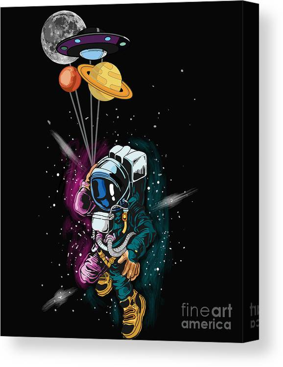 Milkyway Canvas Print featuring the digital art Ufo Astronaut Spaceshuttle Space Force by Thomas Larch