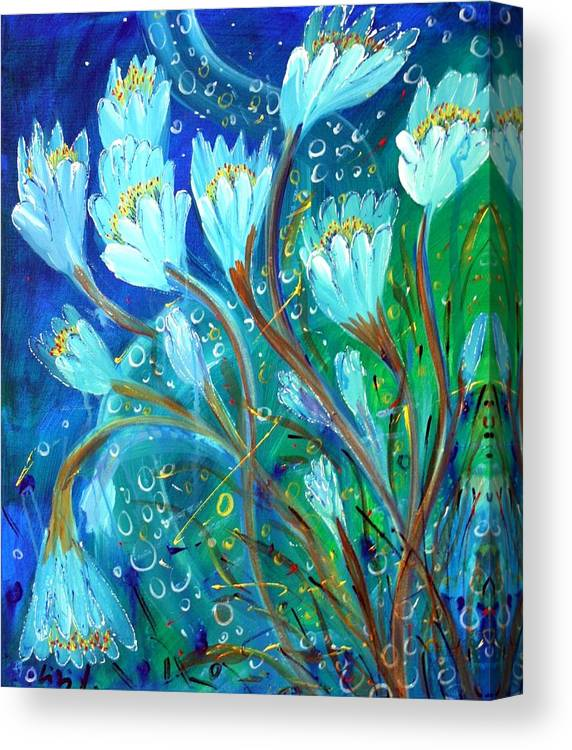 Flowers Canvas Print featuring the painting Water Flowers by Luiza Vizoli