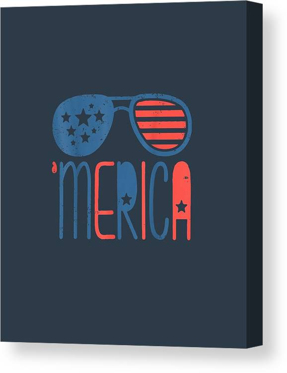 girls' Novelty T-shirts Canvas Print featuring the digital art Merica American Flag Aviators Toddler Tshirt 4th July White by Unique Tees