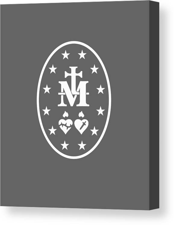 men's Novelty Hoodies Canvas Print featuring the digital art Miraculous Medal Hoodie Catholic Virgin Mary Sacred Heart by Do David