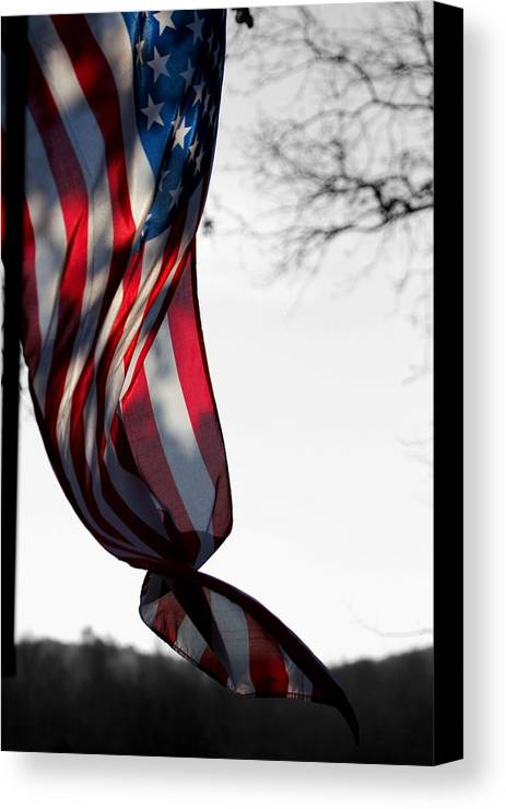 Flag Canvas Print featuring the photograph Colors In The Wind by Lisa Johnston