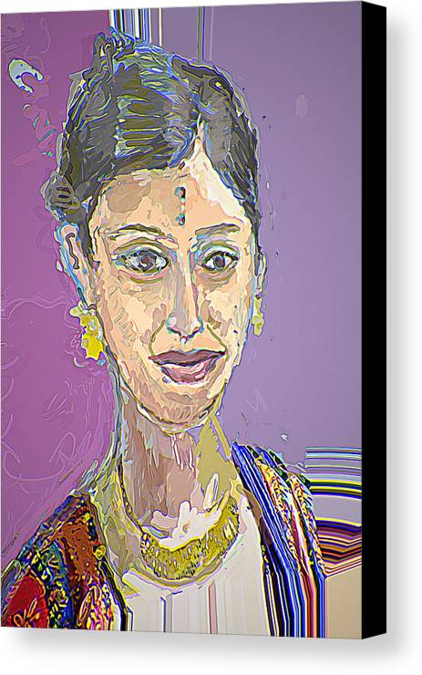 Portrait Canvas Print featuring the mixed media Gopika II by Noredin Morgan