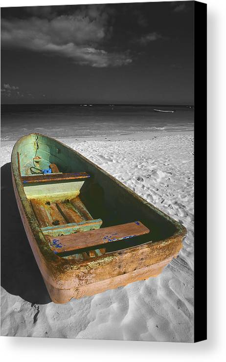 Photography Canvas Print featuring the photograph Green Paddle Boat Playa Del Carmen by Tom Fant
