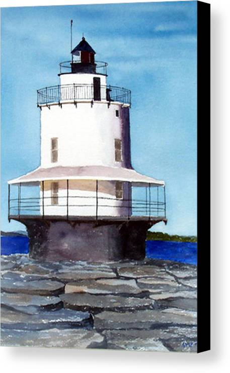 Landscape Canvas Print featuring the print Spring Point Ledge Light by Anne Trotter Hodge
