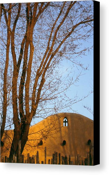 San Francisco De Taos Church With Cross And Trees Canvas Print featuring the photograph The Cross by Lynard Stroud