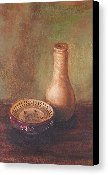 Still Life Canvas Print featuring the painting Wooden Vase by Srilata Ranganathan