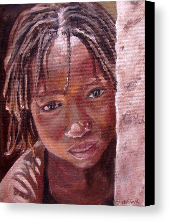 African Girl Canvas Print featuring the painting Chantal by Tahirih Goffic