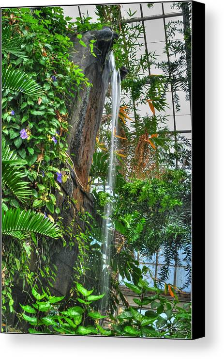 Buffalo Botanical Gardens Canvas Print featuring the photograph 002 Falling Waters Buffalo Botanical Gardens Series by Michael Frank Jr
