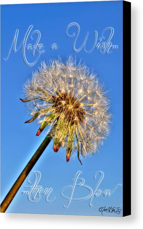 Taraxacum Canvas Print featuring the photograph 002 Make A Wish With Text by Michael Frank Jr