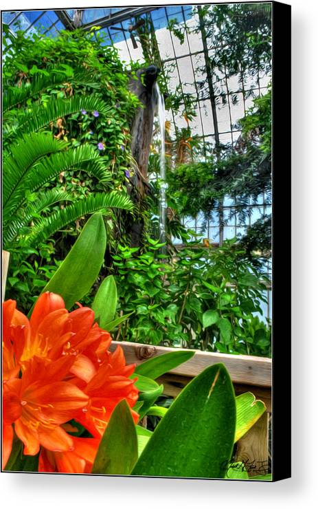 Buffalo Botanical Gardens Canvas Print featuring the photograph 003 Falling Waters Buffalo Botanical Gardens Series by Michael Frank Jr