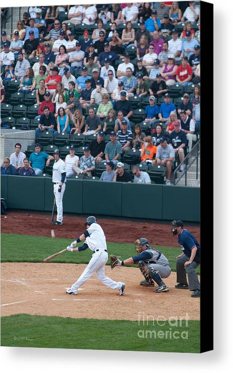 Columbus Clippers Canvas Print featuring the photograph D24w-472 Huntington Park Photo by Ohio Stock Photography