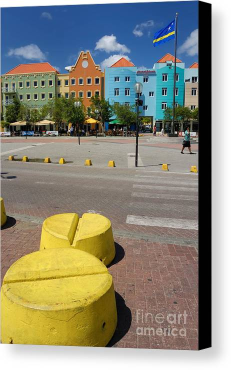 Willemstad Canvas Print featuring the photograph Curacaos Colorful Architecture by Amy Cicconi