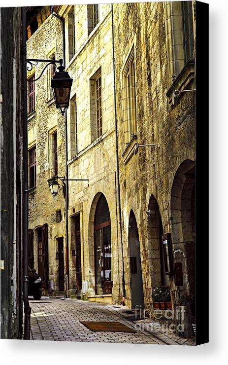 Perigueux Canvas Print featuring the photograph Medieval Street In France by Elena Elisseeva