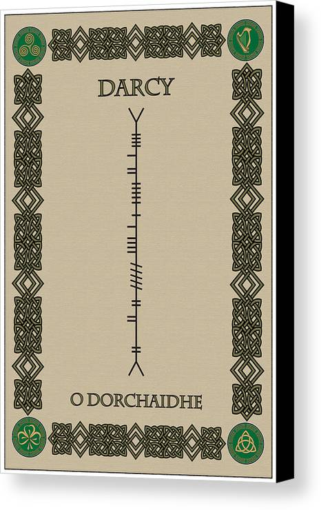 Darcy Canvas Print featuring the digital art Darcy Written In Ogham by Ireland Calling