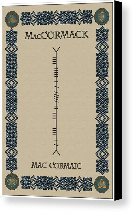 Maccormack Canvas Print featuring the digital art Maccormack Written In Ogham by Ireland Calling