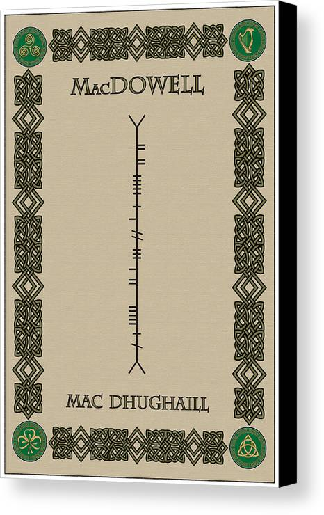 Macdowell Canvas Print featuring the digital art Macdowell Written In Ogham by Ireland Calling