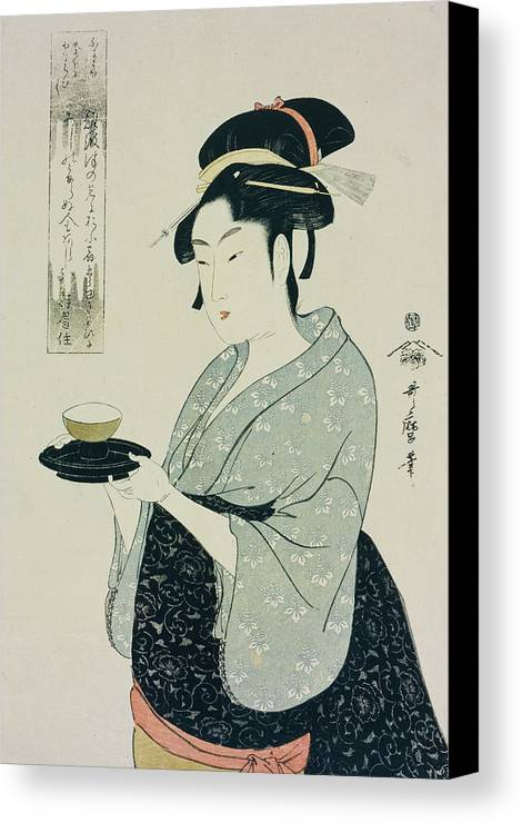 Half Length Portrait Canvas Print featuring the painting A Half Length Portrait Of Naniwaya Okita by Kitagawa Utamaro
