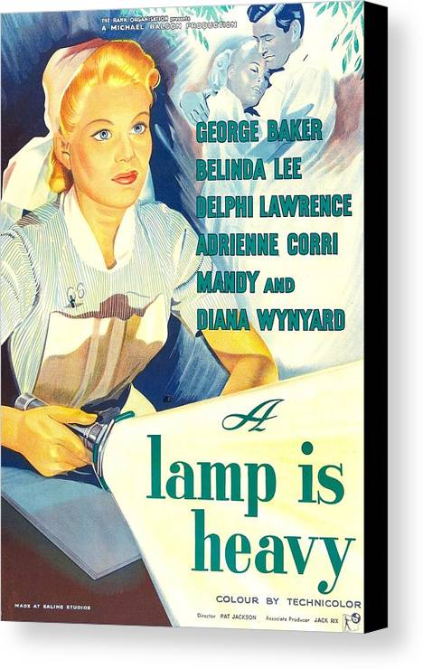 1950s Poster Art Canvas Print featuring the photograph A Lamp Is Heavy, Aka The Feminine by Everett