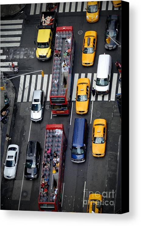 Aerial View Canvas Print featuring the photograph Aerial View Of New York City Traffic by Amy Cicconi