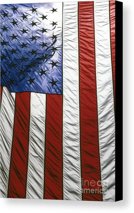American Canvas Print featuring the photograph American Flag by Tony Cordoza