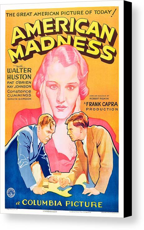 1930s Movies Canvas Print featuring the photograph American Madness, Background, Kay by Everett