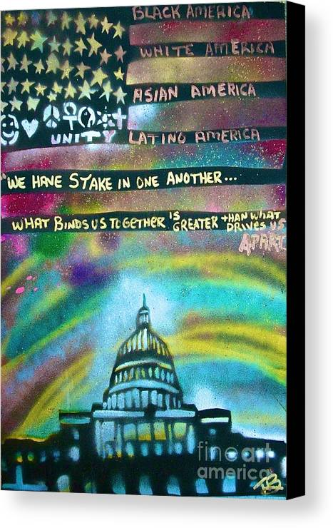 Barack Obama Canvas Print featuring the painting American Rainbow by Tony B Conscious