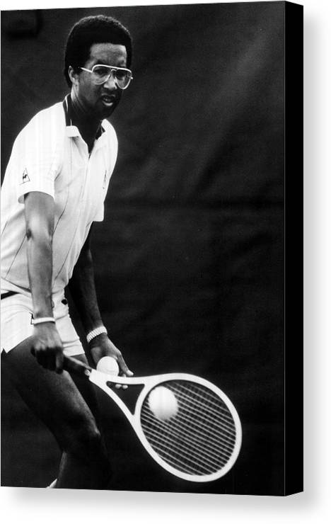Retro Images Archive Canvas Print featuring the photograph Arthur Ashe Playing Tennis by Retro Images Archive
