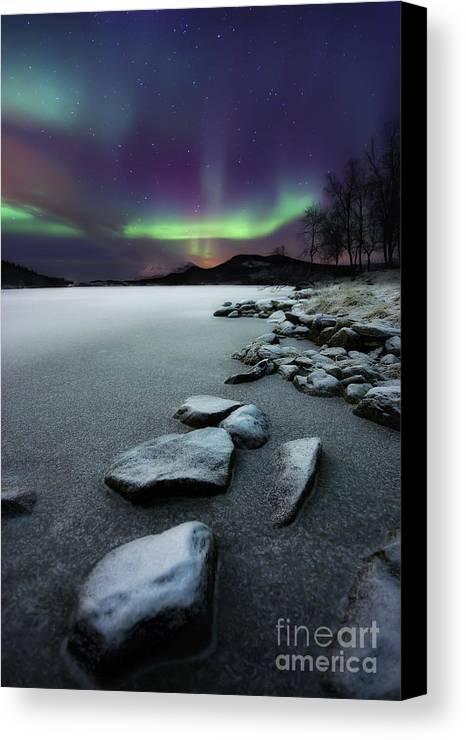 Aurora Borealis Canvas Print featuring the photograph Aurora Borealis Over Sandvannet Lake by Arild Heitmann