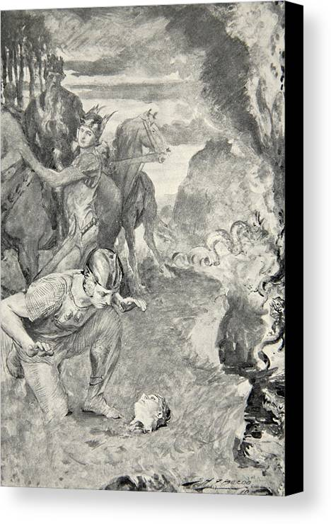 Beowulf Canvas Print featuring the drawing Beowulf Finds The Head Of Aschere by John Henry Frederick Bacon