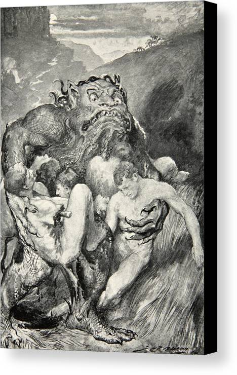 Beowulf Canvas Print featuring the drawing Beowulf Print by John Henry Frederick Bacon