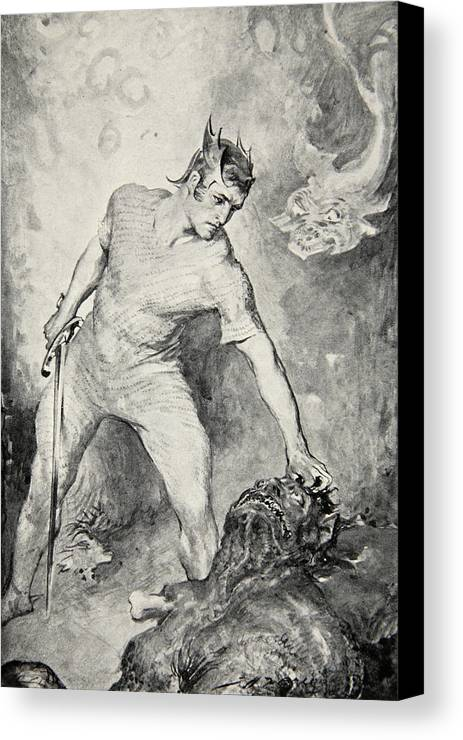 Beowulf Canvas Print featuring the drawing Beowulf Shears Off The Head Of Grendel by John Henry Frederick Bacon