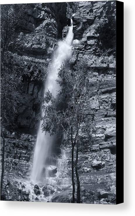 B&w Canvas Print featuring the photograph Black And White Waterfall by Melany Sarafis