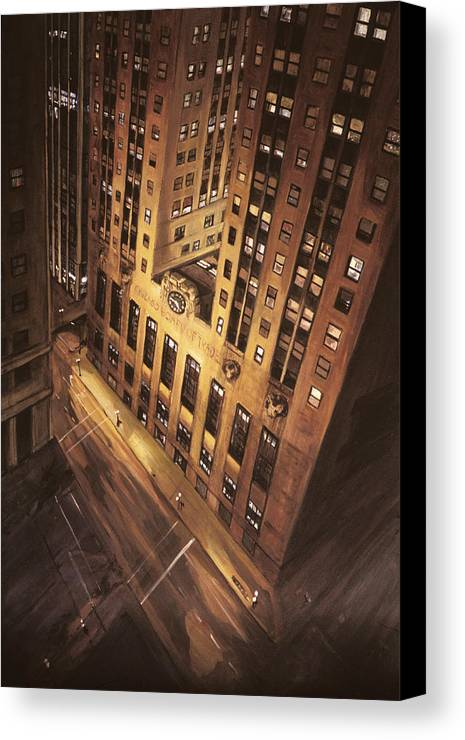 Chicago Canvas Print featuring the painting Board Of Trade by Christopher Buoscio