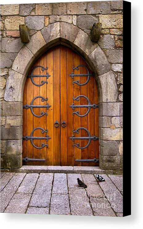 Ancient Canvas Print featuring the photograph Castle Door by Carlos Caetano