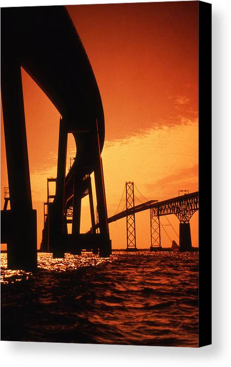 Bay Canvas Print featuring the photograph Chesapeake Bay Bridge by Skip Willits