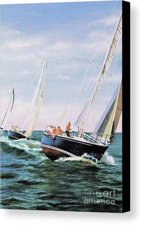 Sailboats Canvas Print featuring the painting Conquistador Cup by Karol Wyckoff