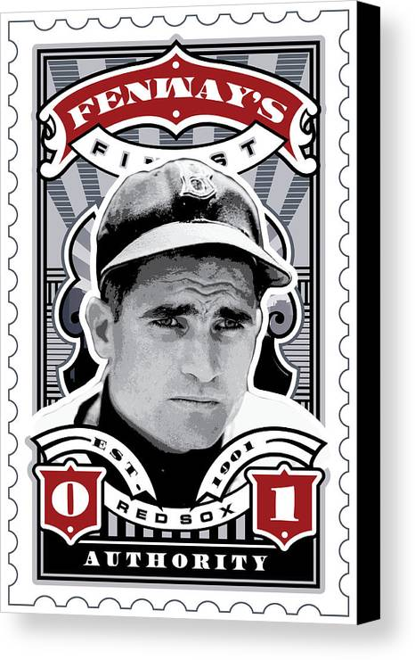 Ted Williams Canvas Print featuring the digital art Dcla Bobby Doerr Fenway's Finest Stamp Art by David Cook Los Angeles
