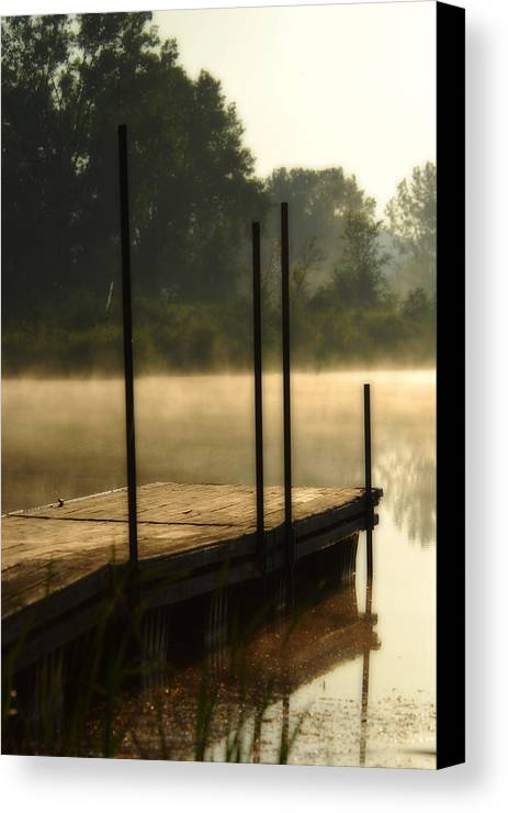 Sunrise Canvas Print featuring the photograph Dock In The Mist by Kimberleigh Ladd