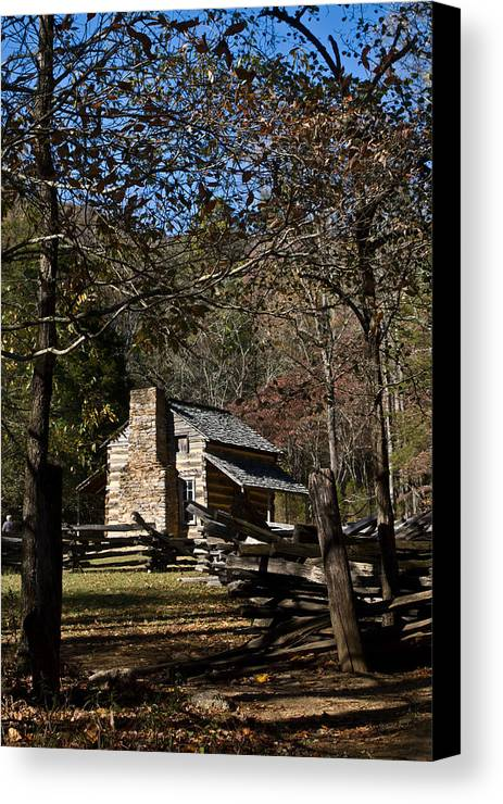 Farm Canvas Print featuring the photograph Farm Cabin Cades Cove Tennessee by Douglas Barnett