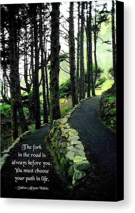 Quotation Canvas Print featuring the photograph Fork In The Road by Mike Flynn
