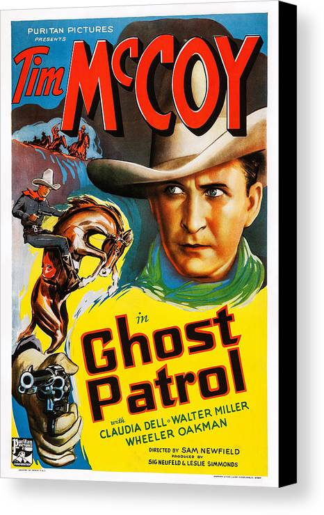 1930s Movies Canvas Print featuring the photograph Ghost Patrol, Us Poster Art, Tim Mccoy by Everett